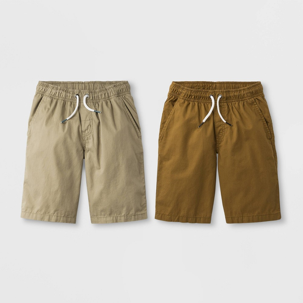 Image of Boys' 2pk Woven Chino Pull-On Shorts - Cat & Jack Brown/Khaki M, Boy's, Size: Medium