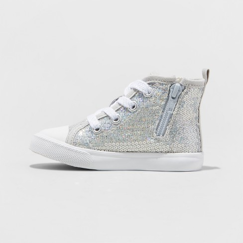 aeeedd46eb56 Toddler Girls  Henley High Top Sneakers - Cat   Jack™ Silver   Target