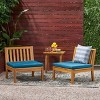 Caswell Set of 2 Acacia Wood Club Chairs - Teak/Dark Teal - Christopher Knight Home - image 2 of 4