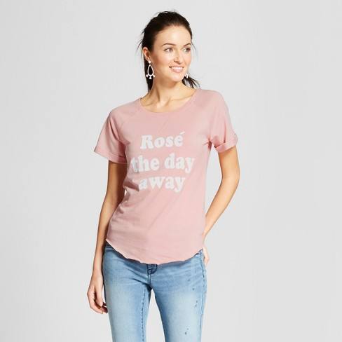 "Women's ""Rose All Day"" French Terry Rolled Cuff Short Sleeve T-Shirt - Grayson Threads - Lilac - image 1 of 2"