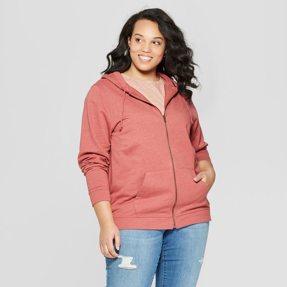 Women's Plus Size Long Sleeve Crew Neck Zip-Up Hoodie Sweatshirt - Universal Thread Rose (Pink) X