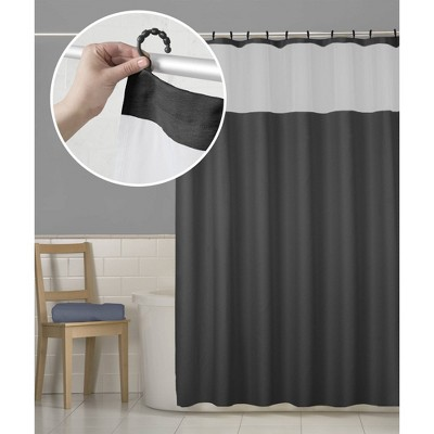 Smart Shower Curtains Hendrix View Fabric With Attached Hooks Black - Maytex