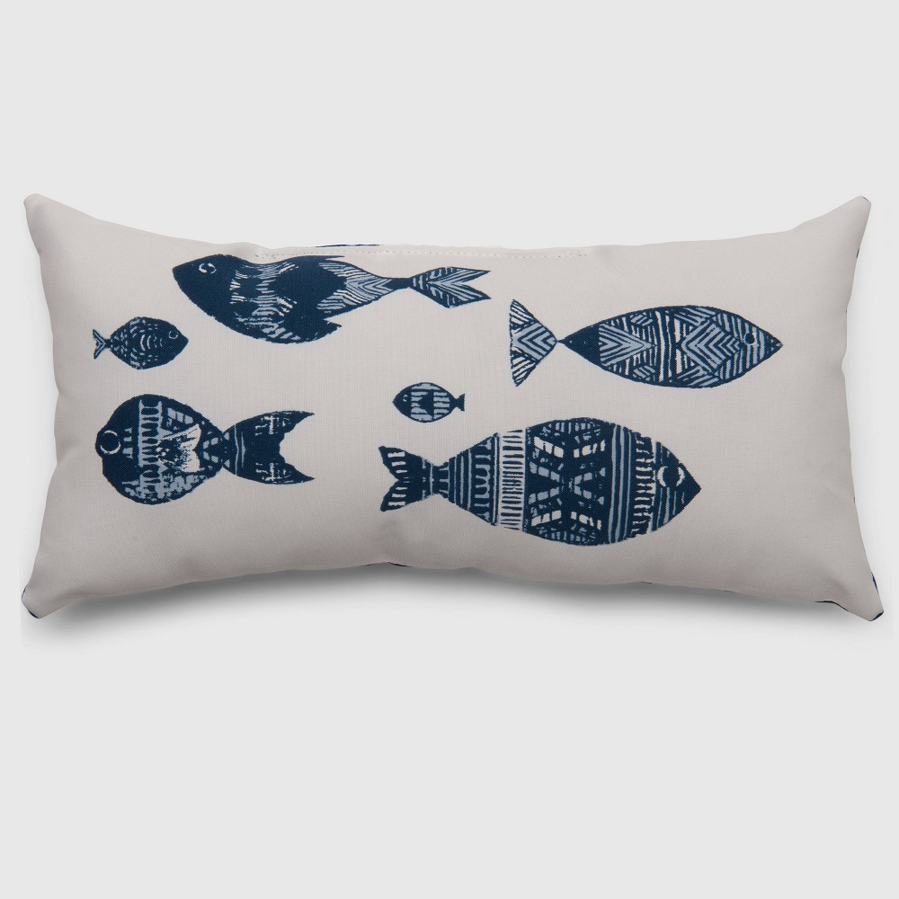 Lumbar Stamped Fish Outdoor Pillow - Threshold, White