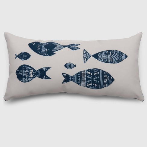 Lumbar Stamped Fish Outdoor Pillow - Threshold™ - image 1 of 1