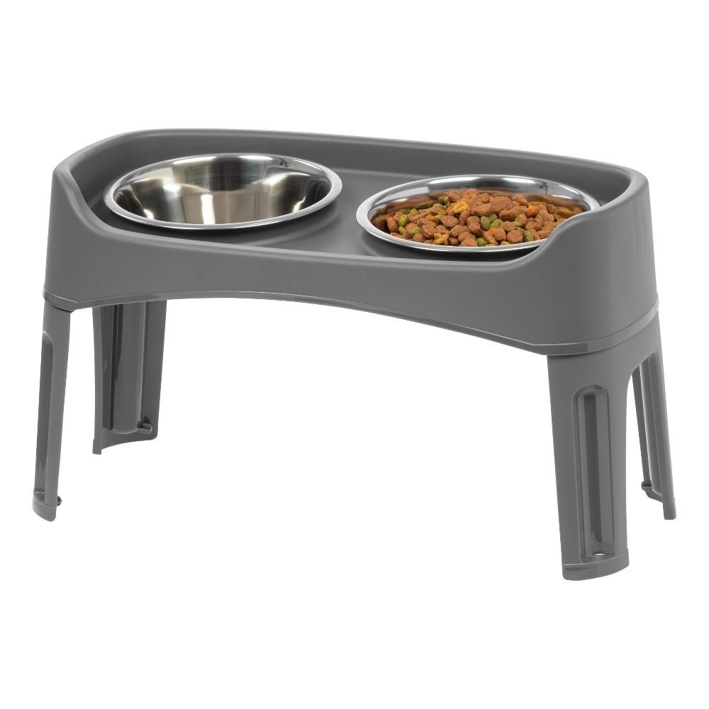 Iris Elevated Dog Feeder Bowl 12 34 Gray