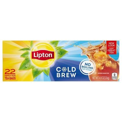 Lipton Cold Brew Family Size Black Iced Tea Bags - 22ct