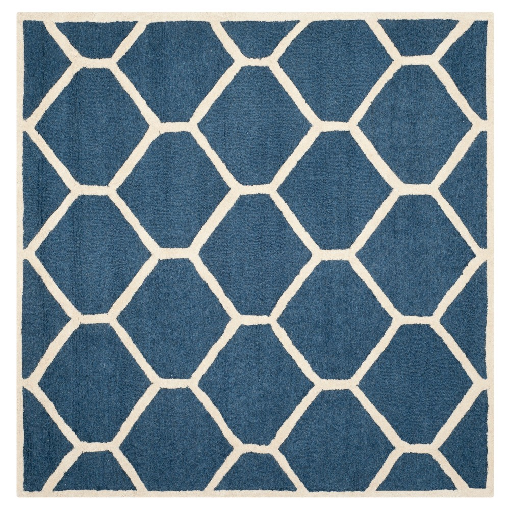 Hunter Texture Wool Rug - Navy Blue / Ivory (6' X 6' Square) - Safavieh, Blue/Ivory