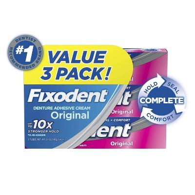 Fixodent Complete Denture Adhesive Cream Original - 2.4oz/3pk