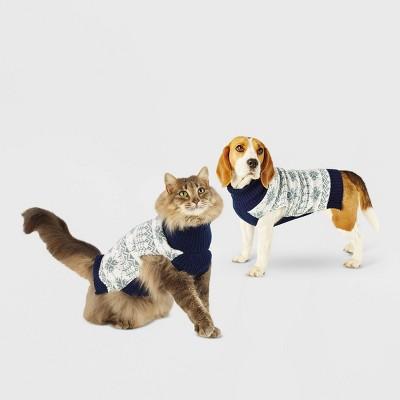 Snowflake Dog and Cat Sweater - Blue - Wondershop™