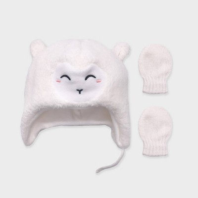 Baby Girls' Critter Beanie and Basic Magic Mittens Set - Cat & Jack™ Pink 0-6M