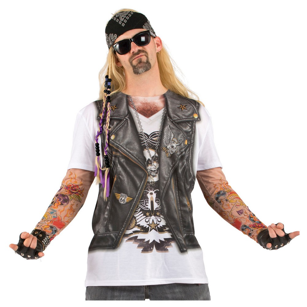 Men's Biker Tattoo With Mesh Sleeves Costume Shirt - Small, Black