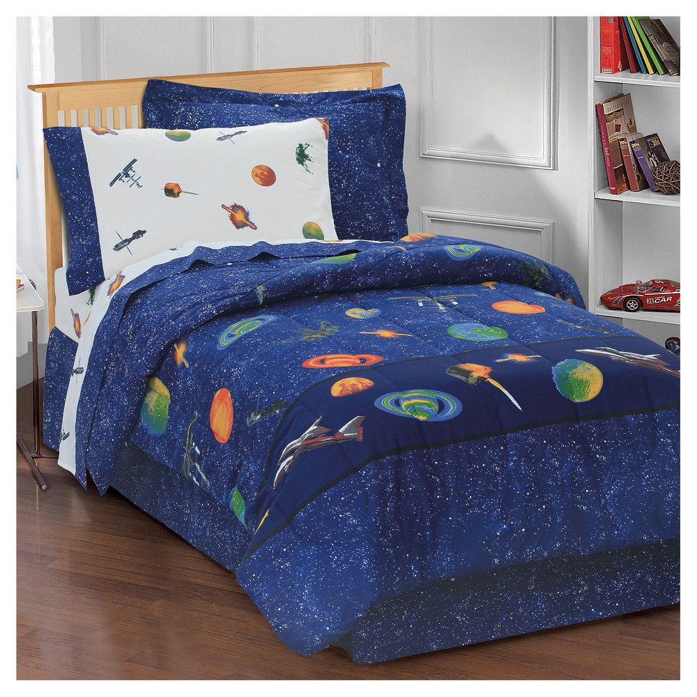 Image of Dream Factory Outer Space Mini Bed-in-a-Bag - Blue (Twin)