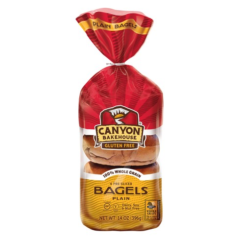 Canyon Bakehouse Pre-Sliced Plain Bagels And Biscuits - 4ct - 14oz - image 1 of 1