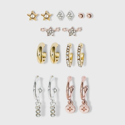 Ear Cuff and Star Charm Hoop Earring Set 8pc - A New Day™