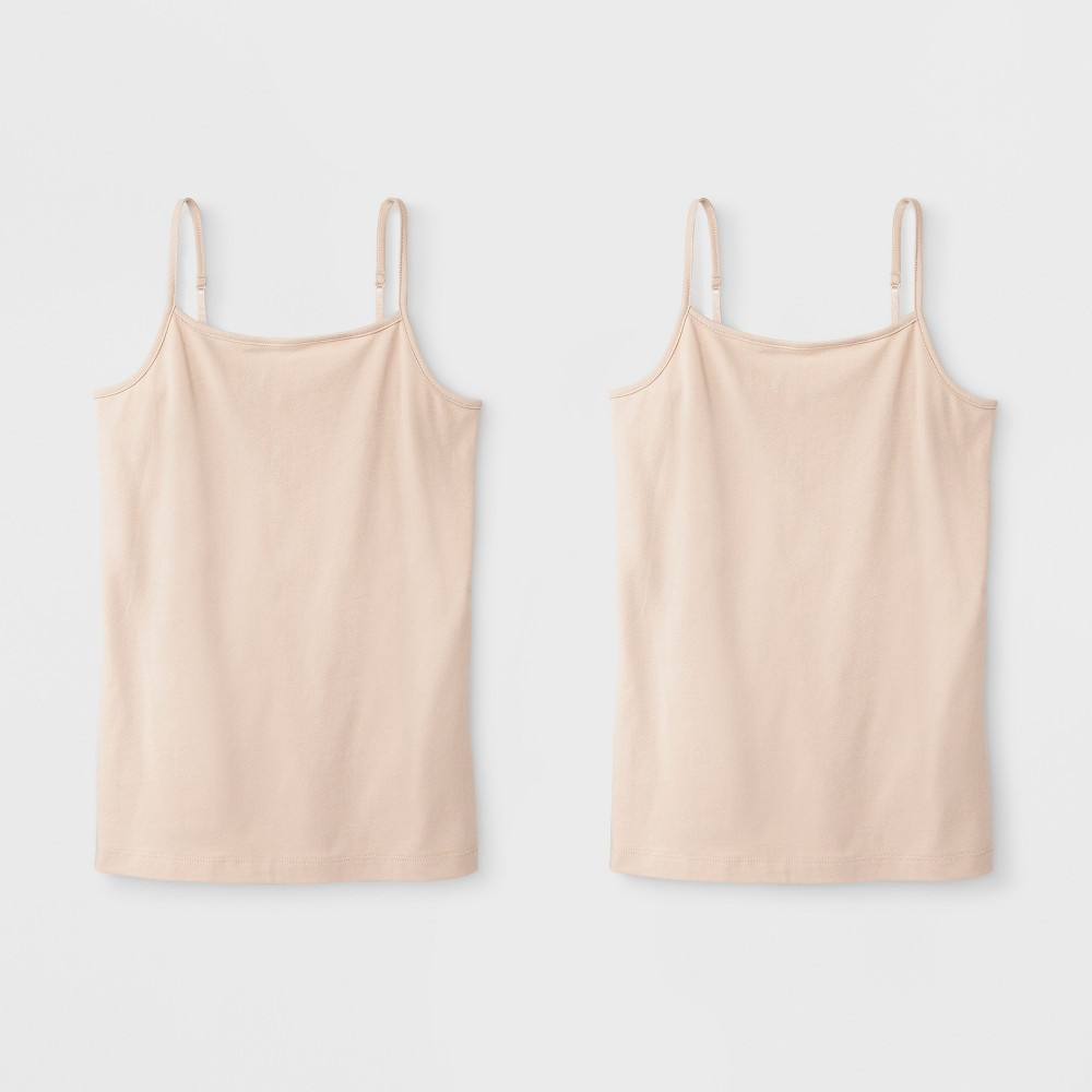 Image of Girls' 2pk Cami - Cat & Jack Tan S, Girl's, Size: Small, White