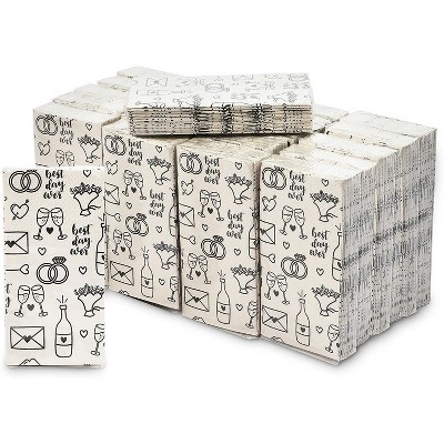 Blue Panda Wedding Theme Facial Tissues - 24 Pack 3-ply Travel Size Pocket Tissue Party Favors, 240 Count Total