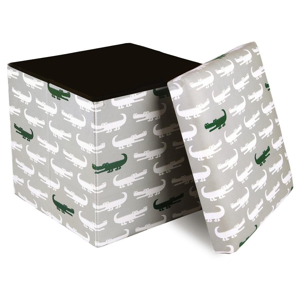 Image of Gray Alligator Storage Bench - Lush Decor