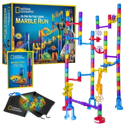 NATIONAL GEOGRAPHIC Glowing Marble Run, 115 Piece Construction Set, 25 Glow in The Dark Glass Marbles, Storage Bag, Educational Creative STEM Toy