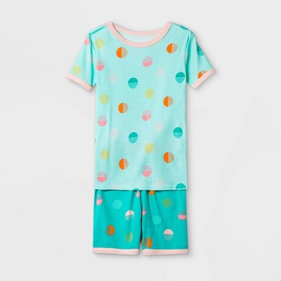 Girls' 2pc Polka Dot Tight Fit Pajama Set - Cat & Jack™ Green