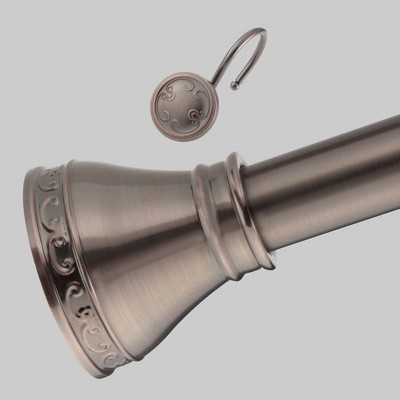 Teamson Home Georgian Elegance Decorative Shower Rod Set with 12 Hooks Oil Rubbed Bronze - Elegant Home Fashions