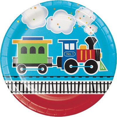 24ct All Aboard Train Paper Plates Red