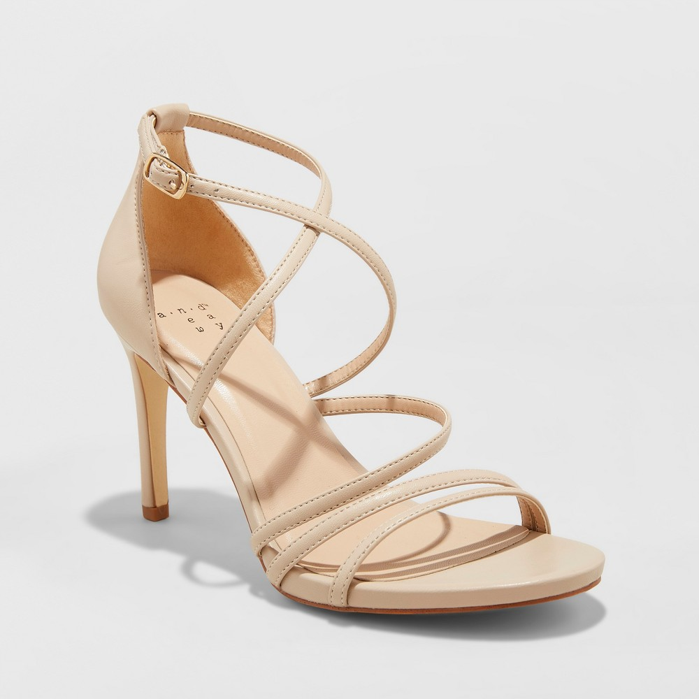 Women's Gal Strappy Stiletto Heeled Pumps - A New Day Taupe (Brown) 11