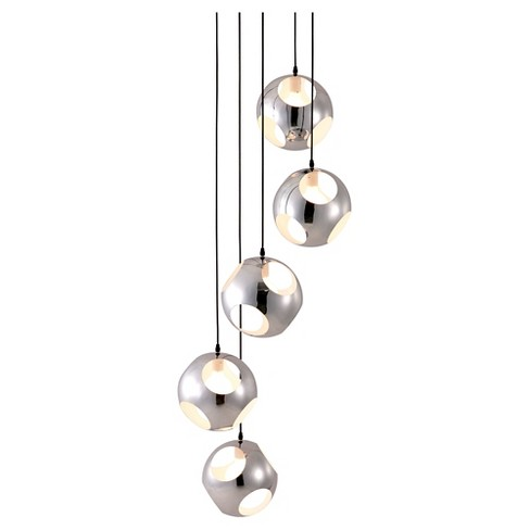 Modern 5-Pendant Chrome Ceiling Lamp - ZM Home - image 1 of 3