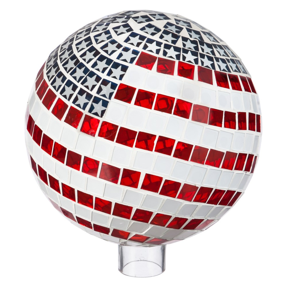 Image of 11.75 H Glass Gazing Ball - Evergreen, Multi-Colored