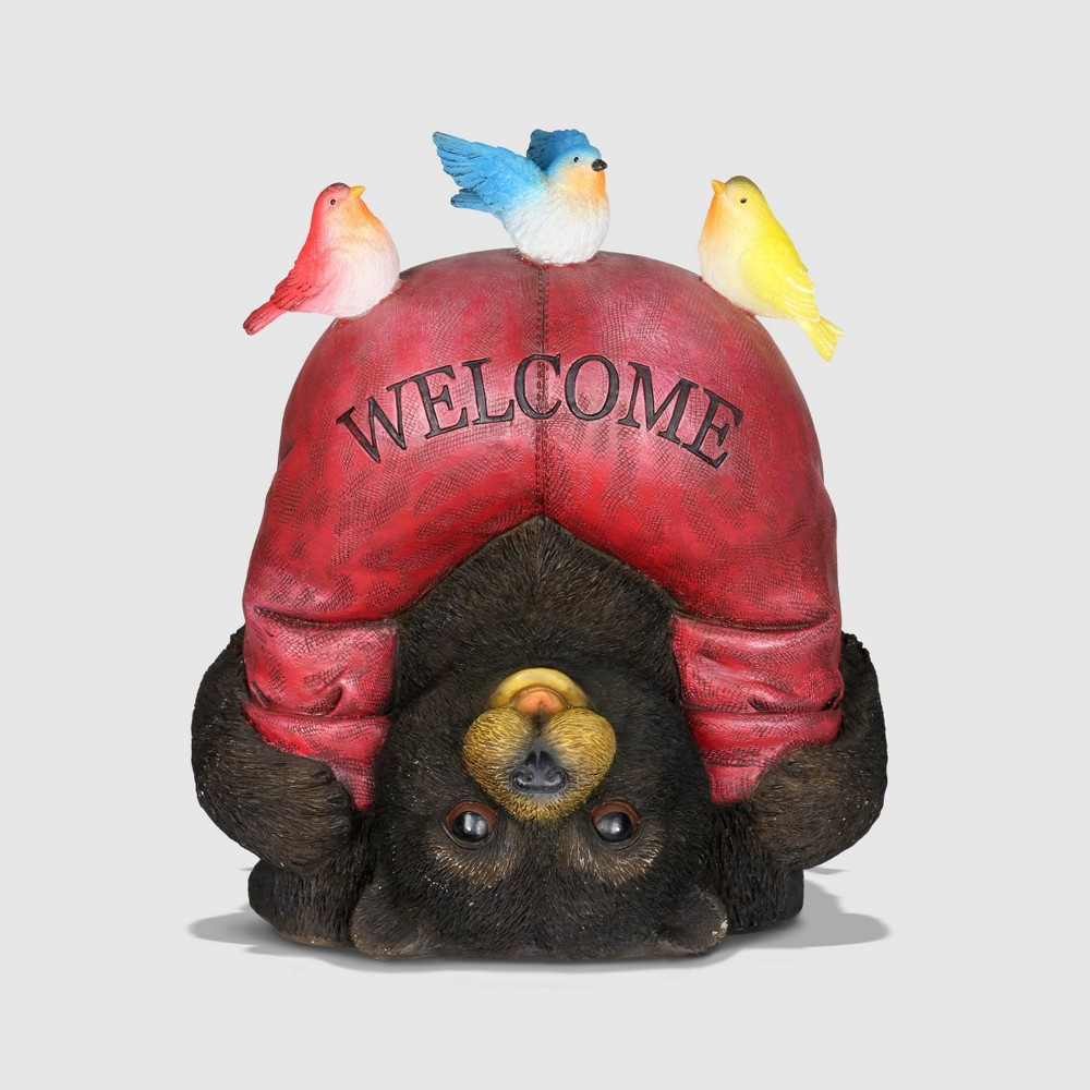 """Image of """"10"""""""" Resin Solar Welcome Bear With Birds Red - Exhart"""""""