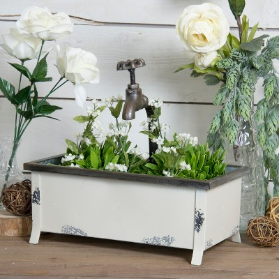 White Faucet Planter - VIP Home & Garden