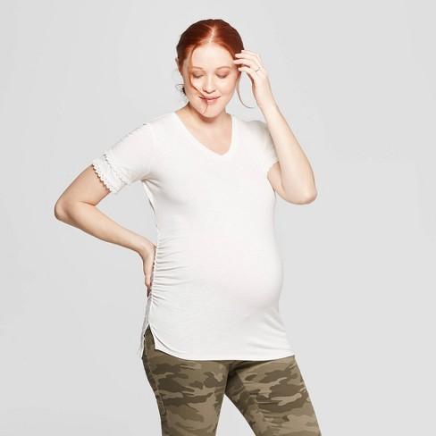 Maternity Short Sleeve V-Neck Lace Trim T-Shirt - Isabel Maternity by Ingrid & Isabel™ Cream - image 1 of 2