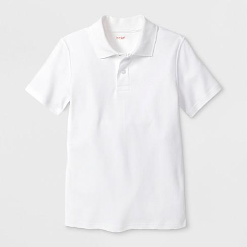 Boys' Adaptive Short Sleeve Polo Shirt - Cat & Jack™ White L - image 1 of 1