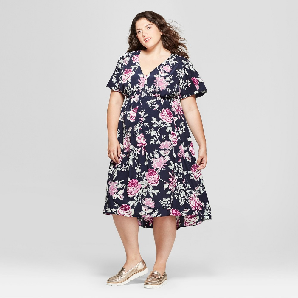 Vintage Style Maternity Clothes Maternity Plus Size Floral Print Short Sleeve Woven High Low Dress - Isabel Maternity by Ingrid  Isabel Navy 3X Womens Blue $14.84 AT vintagedancer.com
