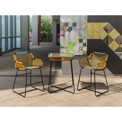 Carag 3pc Balcony Height Patio Bistro Set Blue/Yellow   Project 62™