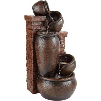 "John Timberland Rustic Outdoor Floor Water Fountain with Light LED 32"" High Pot and Bricks Cascading Yard Garden Patio Deck Home"