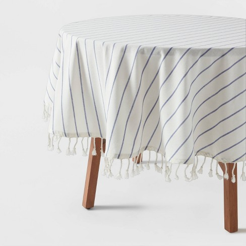 Cotton Woven Tablecloth Blue/White - Opalhouse™ - image 1 of 3