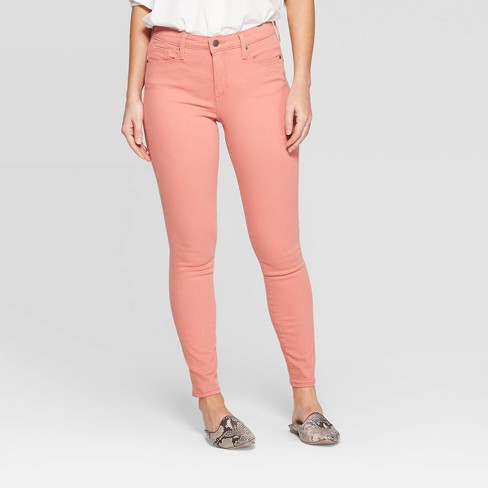 Women's High-Rise Skinny Skinny Jeans - Universal Thread™ Pink - image 1 of 4