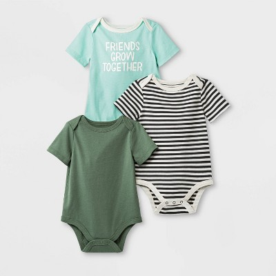 Baby Girls' 3pk Lap Shoulder Short Sleeve Bodysuits - Cat & Jack™ Blue/Green/Black 3-6M