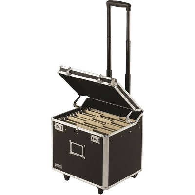 Vaultz Mobile File Chest with Combination Lock and Handle - Black