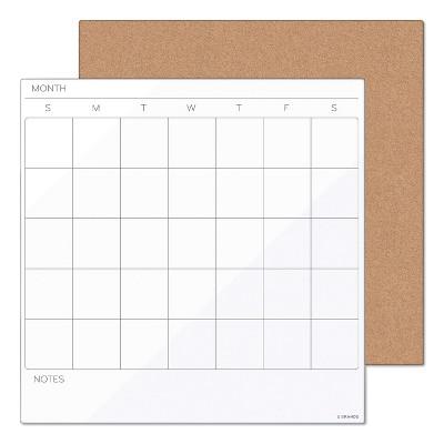 U Brands Tile Board Value Pack w/Undated One Month Calendar 14 x 14 White 3889U0001