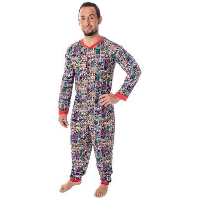 Marvel Unisex Adult Comic Character Grid Print One Piece Pajama Union Suit