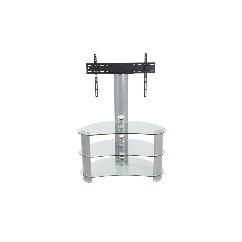 32-60 Jelly Bean Curved Pedestal TV Stand Silver - Avf Jelly Bean's unique shape makes it perfect for sitting in corners or along flat walls, designed using tempered glass and aluminium. Perfect for holding not only your TV but your various AV components such as digital receivers, DVRs, Blu-ray, or gaming consoles. Route all cables via the built-in cable management with entry and exit points along the length of the column so that all your power and connectivity leads can easily reach your equipment in a neat and organized fashion. Featuring secure Avf mounting technology, you can easily protect your TV from accidental knocks or tip overs. Color: Silver.