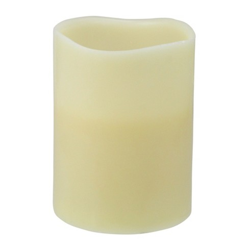 """Northlight 8"""" Prelit LED Battery Operated Flameless 3-Wick Flickering Pillar Candle - Ivory - image 1 of 3"""