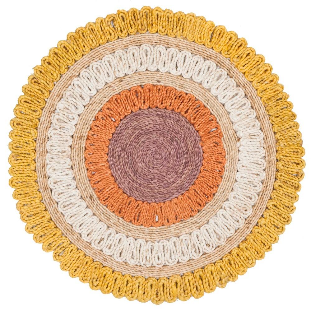 7' Stripe Woven Round Area Rug Gold - Safavieh, Gold/Multi-Colored