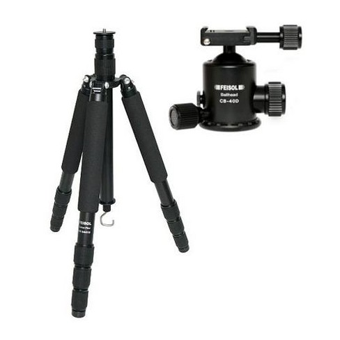 Feisol Traveler Tripod 4 Section Carbon Fiber Tripod with CB-40D Ball Head, Supports 33 Lbs, Max Height 73.6 - image 1 of 1