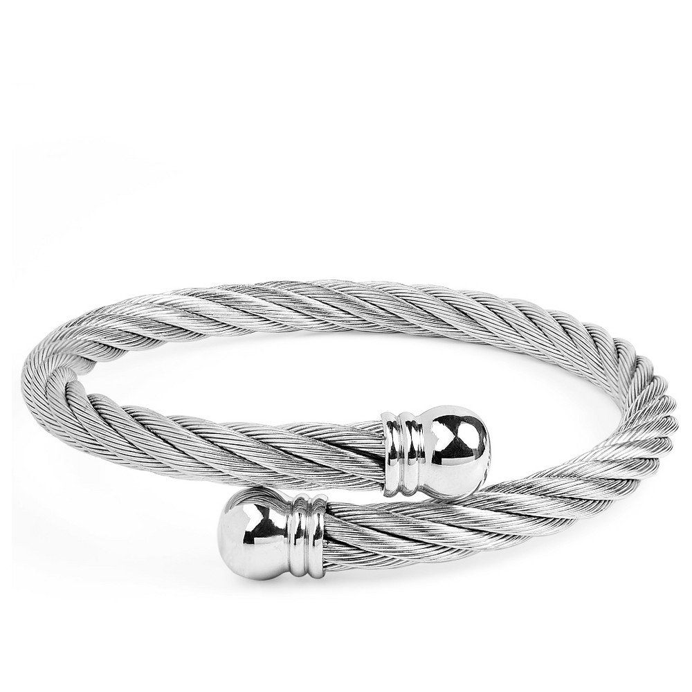 Image of West Coast Jewelry Stainless Steel Twist Rope With Knob Ends Cuff Bracelet, Women's, Size: Small, Silver