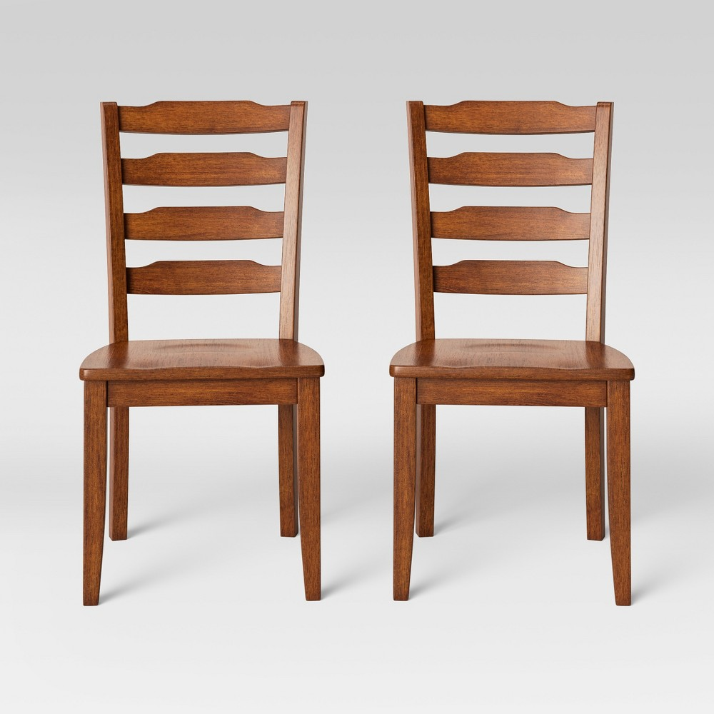 2pk Colebrook Ladder Back Dining Chair Brown - Threshold