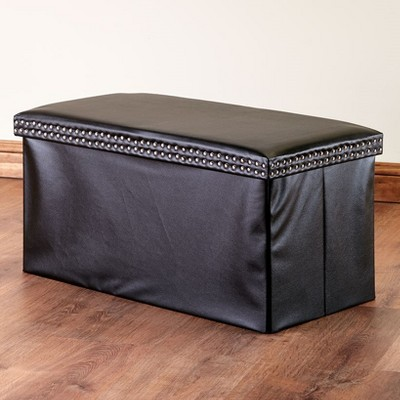 Lakeside Faux Leather Storage Bench with Nail Head Design Accents - Room Accent