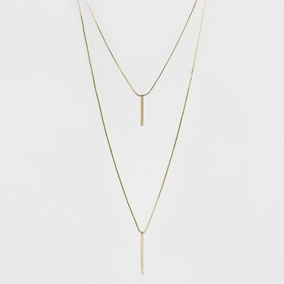 Short and Long Layered Pendant Necklace - A New Day™ Gold