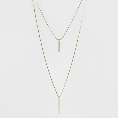 Short and Long Layered Pendant Necklace - A New Day™ Gold - image 1 of 3